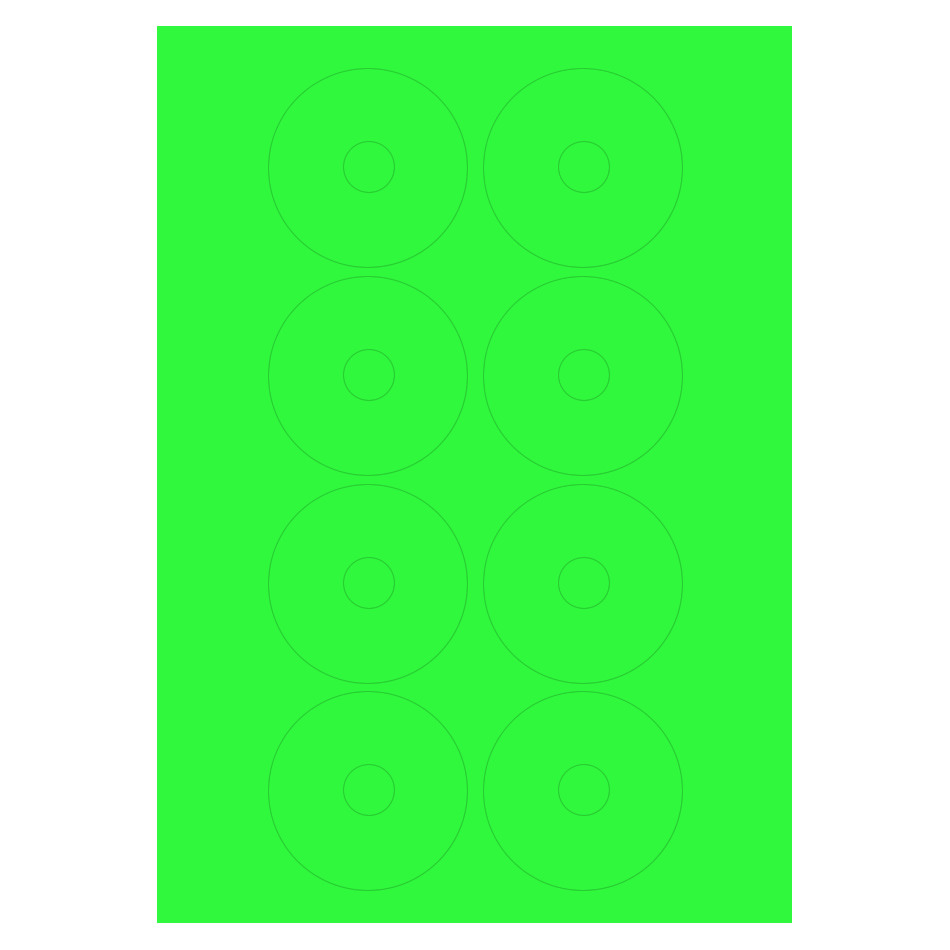 vinyl cd labels on fluorescent green paper laser sheets of a4