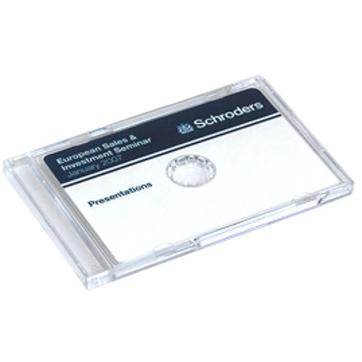 Business card cddvds packaging options retro style media clear business card cddvd jewel cases reheart Images