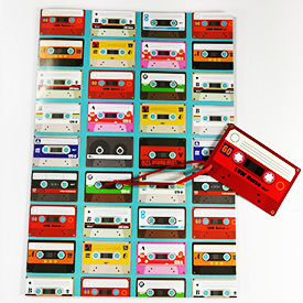 Cassette tape gift wrap and tags